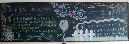 初一(1)宣传部-感念师恩 主题黑板报图片